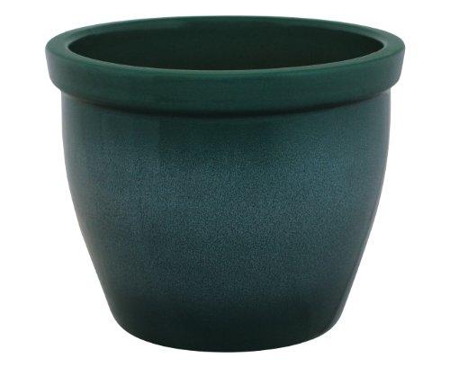 K&K Blumenkübel / Pflanzgefäß / Blumentopf / Pflanzkübel Venus II , 19 x 15 cm, grün-geflammt aus Steinzeug-Keramik (hochwertiger als Steingut)