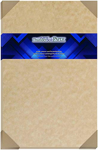 "50 Light Brown Parchment 60# Text (=24# Bond) Paper Sheets - 11"" X 17"" (11X17 Inches) Tabloid