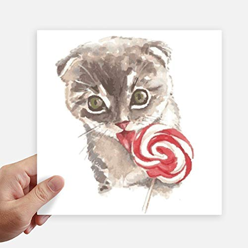 DIYthinker Little Cat Lollipop aquarel dier vierkant Stickers 20 Cm muur koffer Laptop Motobike Decal 4 Stks