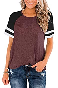 LASLULU Short Sleeve Shirts for Women Color Block Striped Tee Crew Neck Casual Tunic Tops Workout Yoga Athletic T-Shirt Loose Fit Blouses Running Sport Shirts Activewear Burgundy X-Large