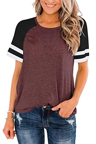 LASLULU Short Sleeve Shirts for Women Color Block Striped Tee Crew Neck Casual Tunic Tops Workout Yoga Athletic T-Shirt Loose Fit Blouses Running Sport Shirts Activewear(Burgundy XX-Large)