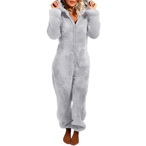 Loozykit Damen Kinder Jumpsuit Teddy Fleece Reißverschluss Einteiler Overall mit Kapuze Flauschig Warme One Piece Pyjama Flanell Jumpsuits(Damen-Grau,M)