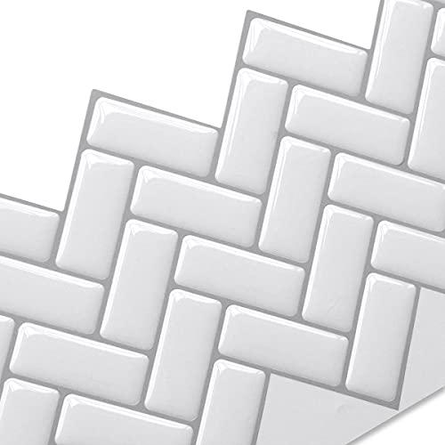 Yoillione タイルシール 防水 (4枚セット)耐熱 キッチン おしゃれ 剥がせる タイル 壁紙シール 賃貸 雰囲気転換 DIY ウォールステッカー 北欧 トイレ 洗面所 リメイクシート 白