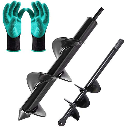 TooTaci Garden Planter Bulb Earth Auger Drill Bit set with 2 pair Garden Gloves, 2 Pcs Non-Slip Hex Drive Garden Post Hole Diggers Tool, Spiral Rapid Planter Tool For Planter (12'x3' and 9'x1.6')