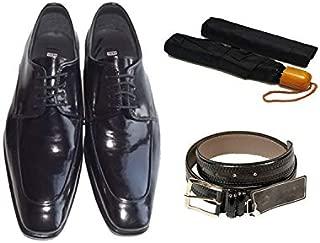 Eray Kundura Klasik Siyah Düz Erkek Ayakkabısı + Kemer + Şemsiye
