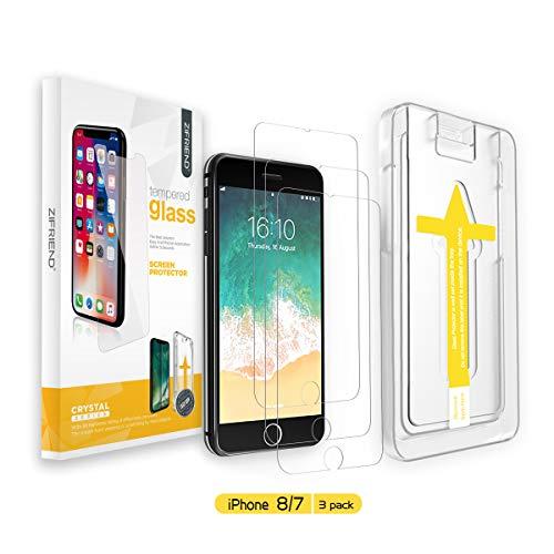 ZIFRIEND iPhone 7/8 Panzerglas [3 Stück] Panzerglasfolie für iPhone 8/7, 9H Härte Schutzfolie, 2.5D Schutzfolie, 3D-Touch, Anti-Bläschen, Anti-Kratzer inklusive Installationszubehör