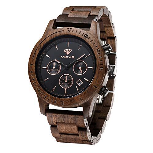 Orologio da uomo in legno VICVS, orologio da uomo Pterocarpus soyauxii in noce nero, cronografo multifunzione con cinturino in legno, adatto a qualsia