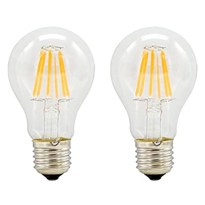 Pack of 2, E27 Vintage Edison Bulb LED 4W 6W 8W 2700K Warm White AC85-265V Non-dimmable for Indoor Table Lamps & Pendant