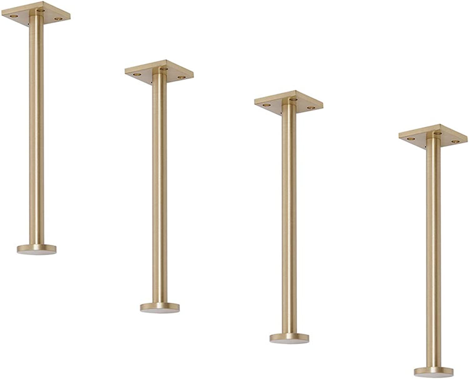 Brass Brushed Furniture Legs, Straight Cylindrical Sofa TV Table Support feet, Coffee Table bar Bathroom Cabinet feet, Bearing Weight 400kg, 4 Sets, 15 20cm