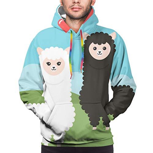 Hangdachang Cartoon Alpaca Pair Sheep Youth 3D Printed Hooide Sweatshirt with Pocket L