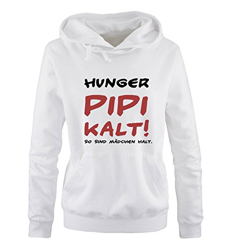 Comedy Shirts – Hunger PIPI – Pour fille – À capuche – Capuche – Poche kangourou à manches longues - Blanc - XL