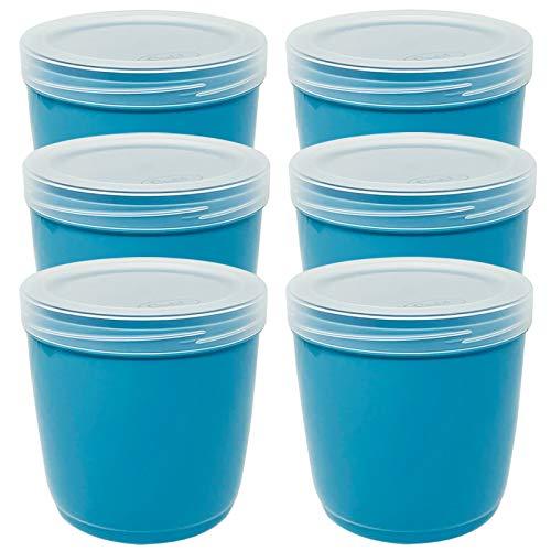 Codil 6×Recipientes de Almacenamiento,Envases Cocina,Contenedores Reutilizables,Fiambreras de Plástico,Cubo,para Congelar Almacenar y Mantener Alimentos Frescos,Azul,1L