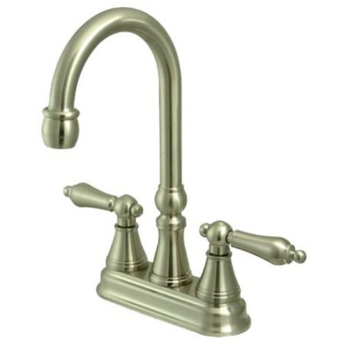 Great Price! Kingston Brass KS2498AL 4 Center Set Bar Faucet without Pop-Up, 5, Brushed Nickel