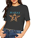 Bazzi Cosmic Limited Edition Black Color Vinyl LP T Shirt Women's Crop Top Blouse Dew Navel Short Sleeves Tees