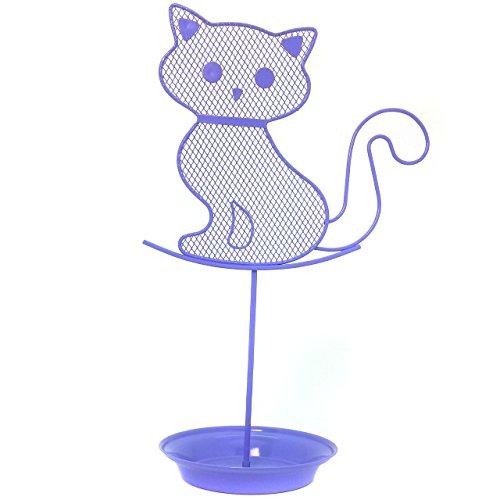 Bucasi Cute Cat Jewelry Organizer – Purple Earring Jewelry Stand – Lavender Dresser Top Jewelry Organizer for Teens – Earring Holder