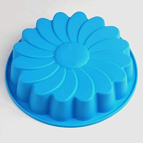 MFSL Big Silicone Cake Molds Flower Crown Shape Cake Bakeware Baking Tools 3D Bread Pastry Mould Pizza Pan DIY Birthday Wedding Party (Color : Blue)