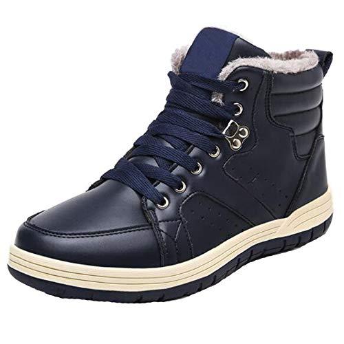 LCM Herrenschuhe Herren Herren Schuhe überdimensionalen Code High Gang Samt warme Sneakers Haut Wasserdichte Herren Baumwollschuhe,Blue,6.5UK