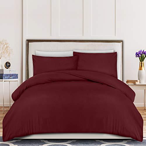 Utopia Bedding Set Copripiumino - Copripiumino e Federe in Microfibra (Bordeaux, Copripiumino 200x200cm + 2 Federe 50x75cm)