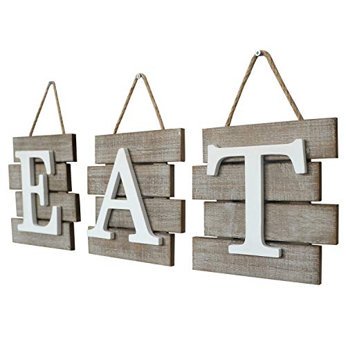 Barnyard Designs Eat Sign Wall Decor, Rustic Farmhouse Decoration for Kitchen and Home, Decorative Hanging Wooden Letters, Country Wall Art, Distressed Brown and White, 24