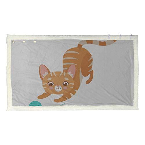 Simpatico gatto gioca a maglia filato lavorato a maglia sciarpa scialle scialle sciarpa invernale avvolgere 53x30 pollici con 3 pulsanti per divano all'aperto avvolgere scialle coperta coper