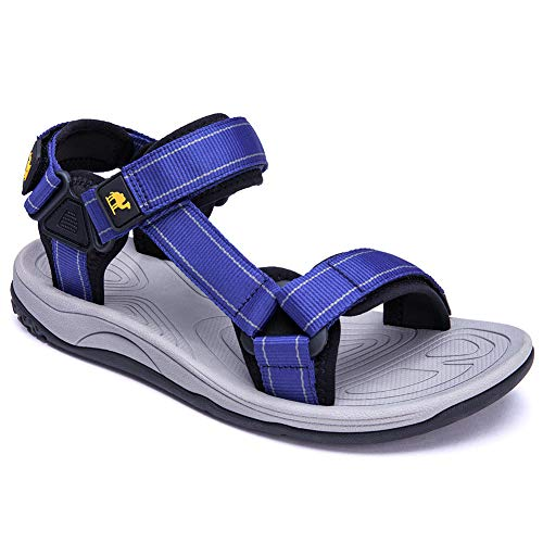 CAMELSPORTS Mens Adjustable Athletic Sandals Comfortable Summer Strap Open-Toe Sandals Lightweight Outdoor Beach Sport Sandals for Hiking Walking Blue