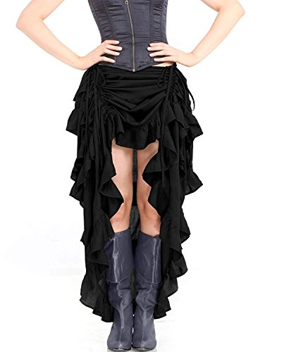 ThePirateDressing Steampunk Victorian Gothic Womens Costume Show Girl Skirt (Black) (Small)