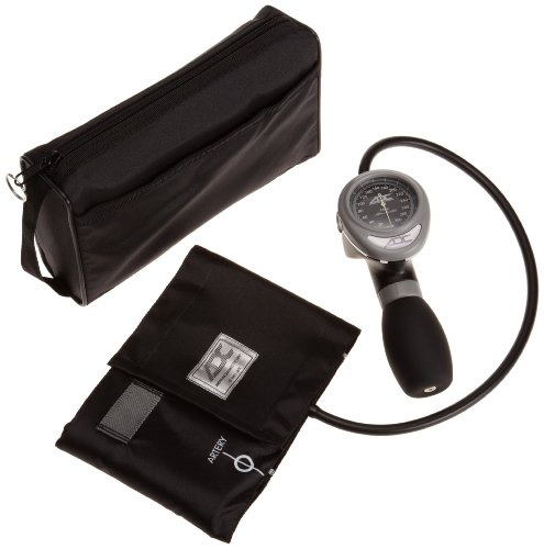 ADC - 788-11ABK Diagnostix 788 Palm Aneroid Sphygmomanometer with Adcuff Nylon Blood Pressure Cuff and Carrying Case, Black