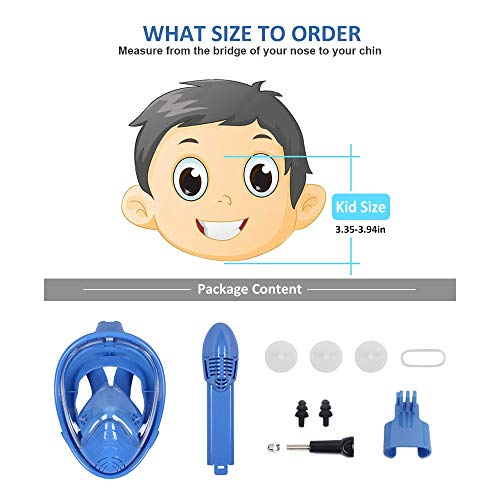 DasMeer Kids Snorkeling Mask Full Face Easy Breathing 180° Panoramic View Anti-Fog Anti-Leak Safety Snorkel with Detachable Action Camera Mount