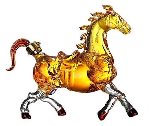 Decantador de whisky de caballo, aerodinámico de la botella de vino animal, con cristal artesanal de brandy Tequila Bourbon Scotch Rum Container Alcohol Decanter, mejores regalos para padre y esposo L