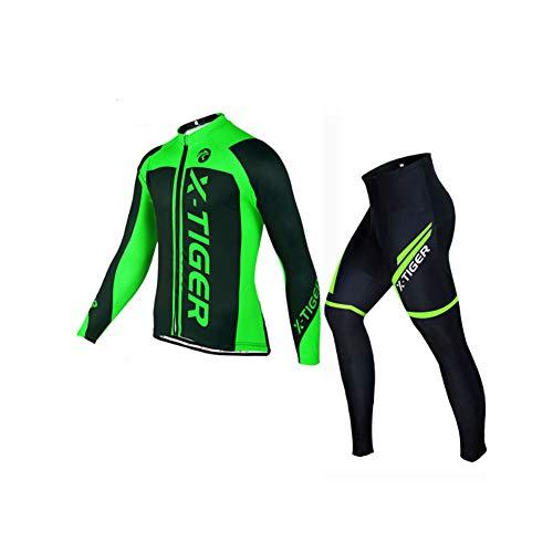 WOFEI Hiver Vélo Jersey Manches Longues Vélo Vêtements Full Zipper Vêtement Vélo Cycling Suits Maillot De Cyclisme Professionnel pour Homme,Vert,M