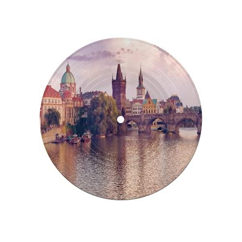Posavasos de Discos para Bebidas,Puente de Carlos y Torres del Casco Antiguo de Praga a orillas del río Vltava,Absorbente 6 Posavasos de Disco de protección eficaz para Escritorio