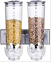 Wall mounted design saves space Provides an excellent view of the product inside Handle mechanism makes it easy to dispense cereal with every turn
