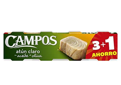 CAMPOS, pack de 4 latas de 80 g de atún claro en aceite de oliva