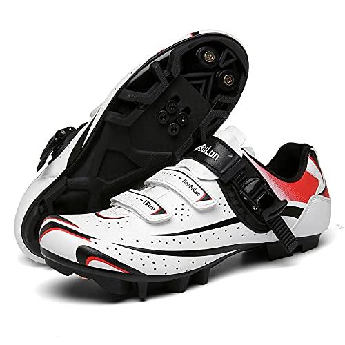 KUXUAN Zapatillas de Ciclismo para Hombres y Mujeres - Bicicleta con Bloqueo de Carretera Zapatillas de Ciclismo Bicicleta de Montaña Sin Bloqueo,White-A-10UK=(270mm)=44EU
