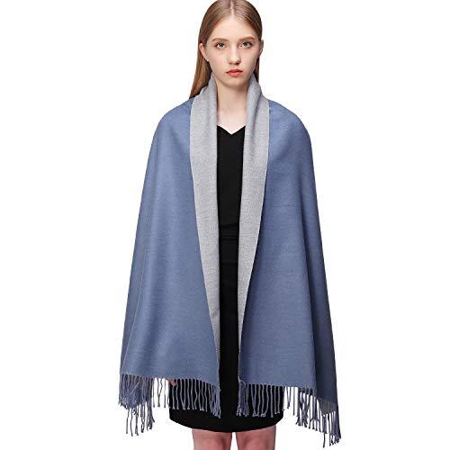 RIIQIICHY Donna Sciarpa Scialle Pashmina Invernale Elegante Lungo Morbida Rversibili Stole Avvolgere rosybrown e grigio