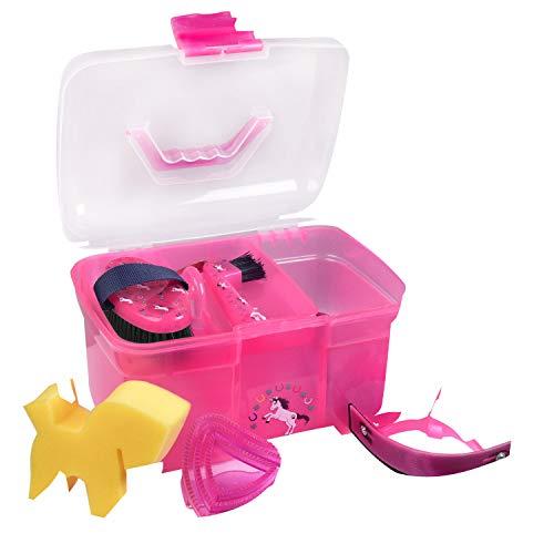 Reitsport Amesbichler Putzbox Putzkiste Unicorn PINK befüllt für Kinder - Kinder Pferde Putzbox Putzköfferchen