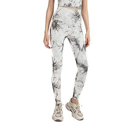 Pantalones Deportivos de Cintura Alta de Melocotón con Teñido Anudado para Mujer, Mallas de Gimnasio con Levantamiento de Cadera de Secado Rápido, Pantalones de Yoga Aju(Color:blanco,Size:Extragrande)