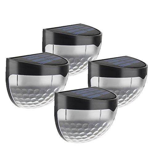 4 Stück LED Solarleuchte mit 6 LED-Lampen,Gartenleuchte,Outdoor Solar Wandleuchte,Halbkugel,Wasserdicht für Haus, Zaun, Garten, Garage, Schuppen, Treppe, Garten Deko und Außenbereich