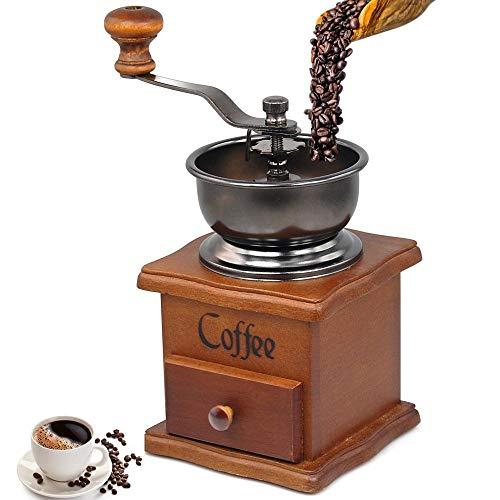 AoYan Macinacaffè Manuale Vintage - Macinacaffè in Ceramica Regolabile di Alta qualità, manovella in ghisa, caffè macinato a Mano Adatto con cassetto macinacaffè