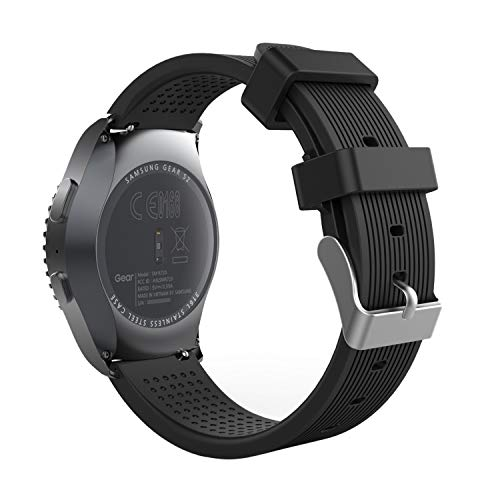 MoKo Band Compatible with Samsung Galaxy Watch 3 41mm/Gear S2 Classic/Galaxy Watch 42mm/Galaxy Watch Active/Active 2/Vivoactive 3/Huawei Watch GT 2 42mm, 20MM Soft Silicone Watch Strap - Black