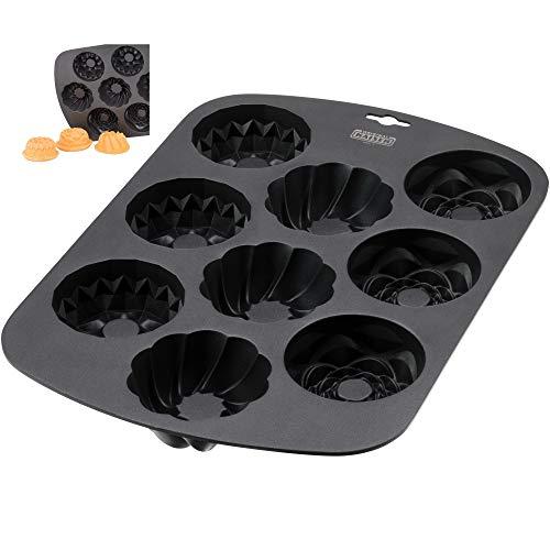 Kaiser Inspiration Muffinform für 9 Muffins, 38 x 27 cm, antihaftbeschichtet mit 3 Bundform-Designs