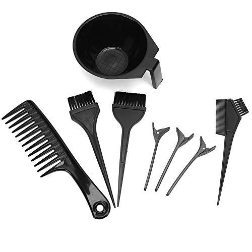Ensemble d'outils de teinture capillaire, 8pcs Outil de teinture capillaire professionnel Points forts Peigne à cheveux Pince à colorant Kit de bol de mélange DIY Salon de teinture