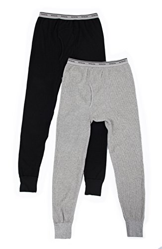 Fruit of the Loom - Pantalones térmicos para Hombre (2 Unidades), Light Grey Heather/Black Soot, Large
