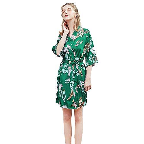 Robes Abiti Accappatoio V-Neck Papillon pizzo camicia da notte signore primavera e l'estate Mid-maniche Large Size Pigiama accappatoi servizio Home, Rosso, XL Jzx-n ( Color : Green , Size : XXLarge )