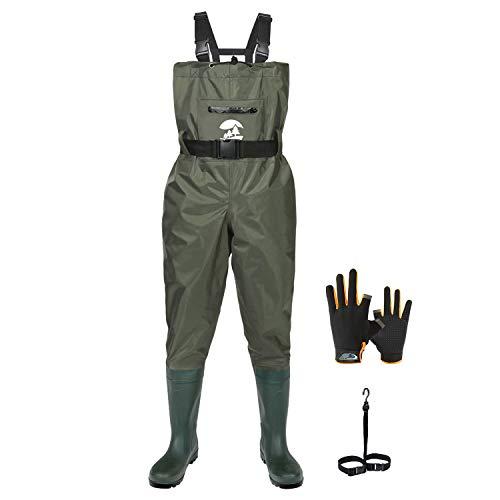 Vadeador de Pesca Pantalones con Botas Impermeable para Hombre Mujer Waders Transpirables Verde Oscuro Talla 43