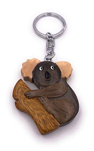 H-Customs Oso Koala Querido Animal Madera Precioso Llavero Hecho a Mano Colgante