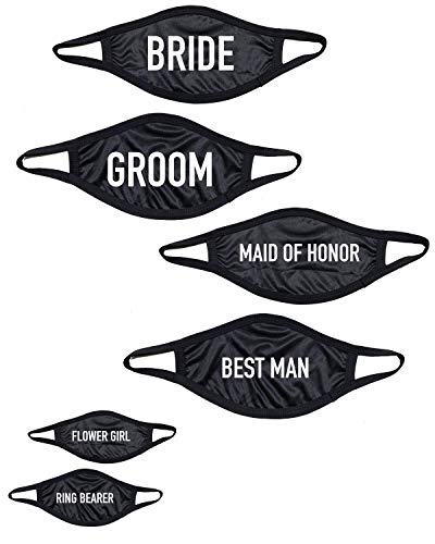 6-Pack Assorted Fashion Face Masks Adult and Kids Available 2 Layer Breathable Washable Funny Printed Designs (Wedding Pack (6-Pack))