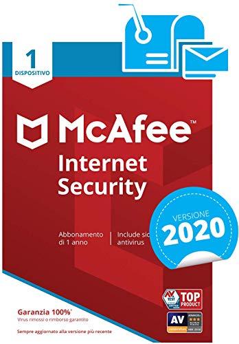 McAfee Internet Security 2020   1 Dispositivo  Abbonamento di 1 anno   PC/Mac/Smartphone/Tablet    Codice di attivazione via mail