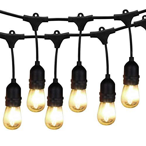 BRTLX ストリングライト 防雨型 15m15灯 LEDイルミネーションライト クリスマス イルミネーション ハロウィン 飾りLED電球付き 連結可能 2700k 電球色相当 E26 黒 ソケット 15個付き クリスマス 誕生日パーティー電飾
