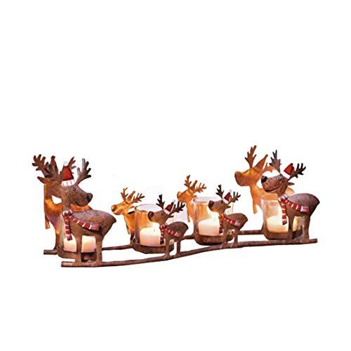 Warm Home 4 packs IJzeren kunst Kandelaar Europese stijl Amerikaanse landelijke Kerstmis Moeder en kind Elk winkelwagen Retro Kinderkamer slee Kaars cup 38,5 * 9,5 * 13cm